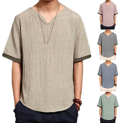 UK STOCK Mens Casual Short Sleeve Summer Linen Cotton Baggy T Shirts Tops Plus