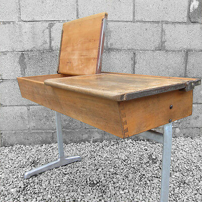 Old Mid Century Double Twin Lift Up Lid Vintage Industrial School Desk Kid Child