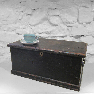 Tools Box Chest Rustic Pine Trunk Industrial Black 1940s Old Storage Black Box