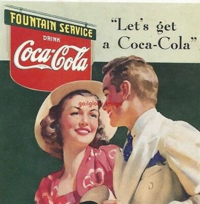 1939 Coca Cola Vintage Coke Print Ad Ice Cold At Bright And Cheerful Fountains