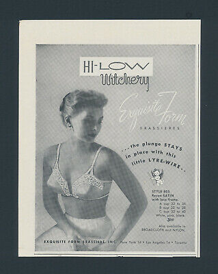 Print Ad~Vintage~1950s Hi-Low Witchery Exquisite Form Bra Lyre-Wire~F300