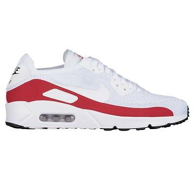d87c7e083e Nike Air Max 90 UL 2.0 Flyknit Mens 875943-102 White Red Running Shoes Size