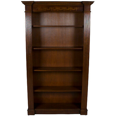 Vintage Antique Style Breakfront Open Bookcase Bookshelf Book Shelf Office FS!