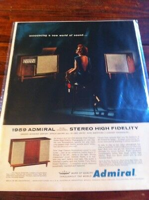 Vintage 1959 Admiral Dual Channel High Fidelity Stereo Print Art ad