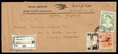 Iraqi Airways Mar 20 1960 Registered Air Mail Ad Cover To Tulsa Ok Usa