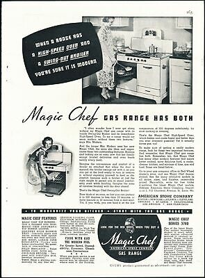Print Ad~1937~Magic Chef Gas Range /Stove~Swing Out Broiler~F400