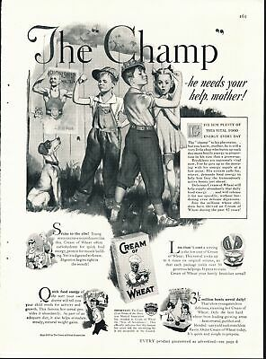 Print Ad~1937~Cream of Wheat~Black & White~The Champ~Kids~Children~F400