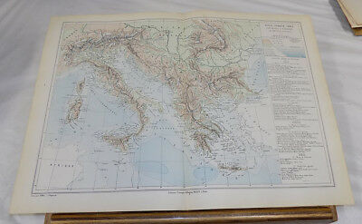 1881 Atlas Universal Map///ITALY, TURKEY, GREECE, Physical and Economic