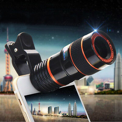 8pcs Zoom Optical Camera Telescope Lens+Universal Clip Kit For Mobile Cell Phone