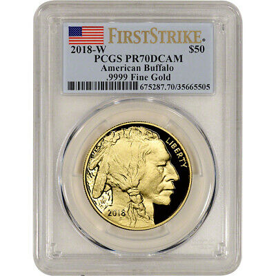 2018-W American Gold Buffalo Proof 1 oz $50 - PCGS PR70 DCAM - First Strike