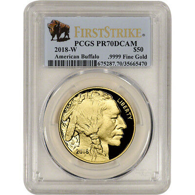 2018-W American Gold Buffalo Proof 1 oz $50 PCGS PR70 DCAM First Strike Buffalo