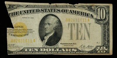 1928 $10 Gold Certificate Small Note Washington D.c. Torn / Missing Piece