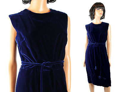 60s Cocktail Dress Sz M Vintage Dark Cobalt Blue Velvet Sleeveless Gown w/ Belt