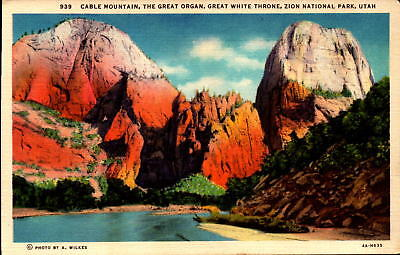 Postcard Cable Mountain Great Organ White Throne Zion  Linen Unused
