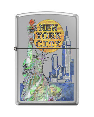 "Zippo ""Statue of Liberty-New York Skyline"" Lighter, High Polish Chrome, 0150"