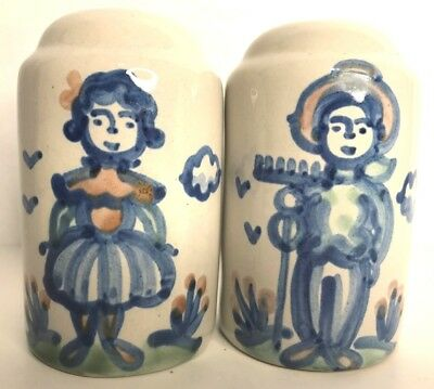 """M A HADLEY Pottery Blue Country Farmer Wife Large 4.5"""" Salt Pepper Shakers USA"""
