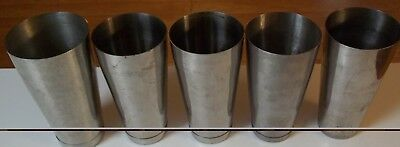 """Lot of (5) STAINLESS STEEL Milk Shake/Shaking Cups 7"""" Tall"""