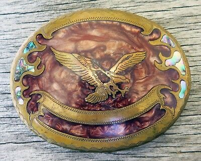 American Bald Eagle Johnson Held Western Inlay Vintage Belt Buckle