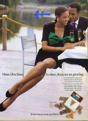 Hanes Ultra Sheer. So sheer all you see are great legs pantyhose ad 1988