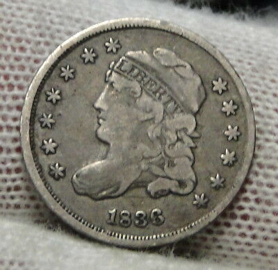 1836 Capped Bust Half Dime 5C Cents - Nice Coin, Free Shipping (6822)