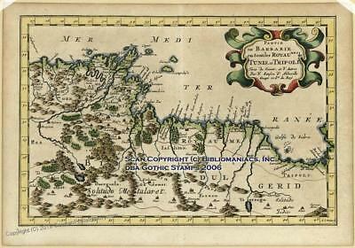 Tunisia Libya Mercator Sanson 1734 Antique Map 30241