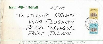 Stamps Jordan 1996 various on Iraqi airlines cover to Faroe Islands, uncommon