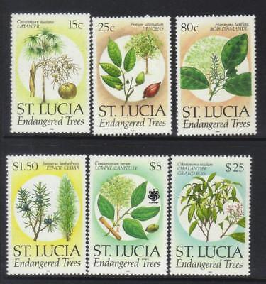 St Lucia 1990 Endangered Trees 6 Mnh Values Cat £30+