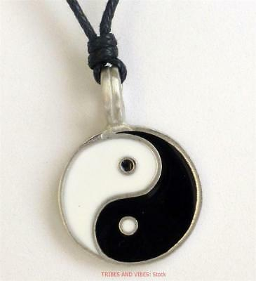 YIN YANG Pendant Necklace black white Zen Jewellery 25mm wide PRICED TO CLEAR