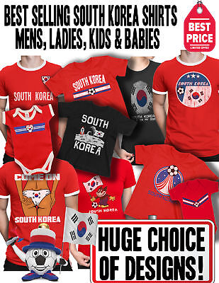 96acb207bda SOUTH KOREA Womens WORLD CUP 2019 T-Shirt Football Choice Mens Womens Kids  Baby