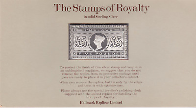 The Stamps of Royalty Silver Proof .925 Stamp Replica : £5 Five Pound  NO 3