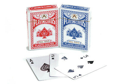 Professional Plastic Coated Playing Cards Mixed Red Blue Decks