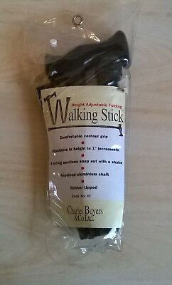 Charles Buyers Height Adjustable Folding Walking Stick - Black