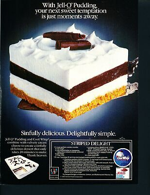 Print Ad~Vintage~1985~Jell-O Striped Delight Recipe~Cool Whip~F700