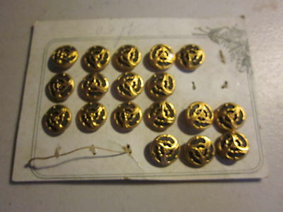 18 small Gilded Bronze Art Nouveau Buttons, with organic swirls