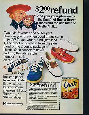 Print Ad~Vintage~1977~Buster Brown Kids Shoes with Nestle Quick~F700