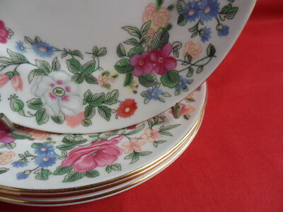 """Crown Staffordshire, Thousand Flowers, 4 x 6.25"""" Teaplates or Side Plates"""
