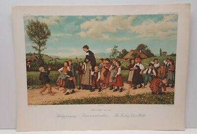Vintage Lithograph Art Print The Sunday School Walk Swiss Life Albrecht Anker