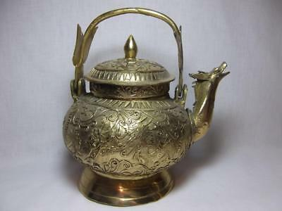 Vtg Asian Brass Dragon Incense Pot tea Marked chinese 1940s