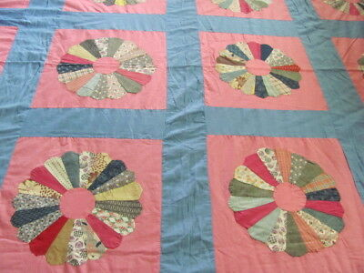 Pretty pink and blue 1930's era Dresden plate large cotton quilt top