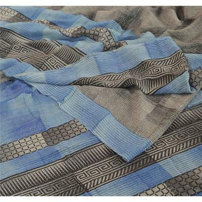Sanskriti Vintage Printed 100% Pure Crepe Silk Saree Blue Sari Craft Fabric