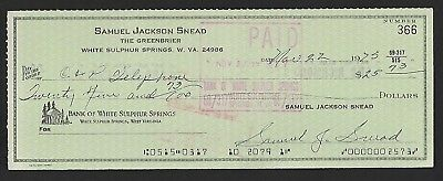 Sam Snead signed check dated November 22, 1973 Golf Hall of Fame and Legend