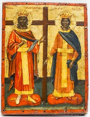 Old Antique Greek Icon of St. Constantine and St. Helen, ca 1800