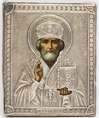 Old Antique Russian Icon of Saint Nicholas, 1908
