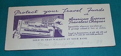 VINTAGE 30s BLOTTER AMERICAN EXPRESS TRAVELERS CHEQUE ADVERTISING ORIGINAL 1939
