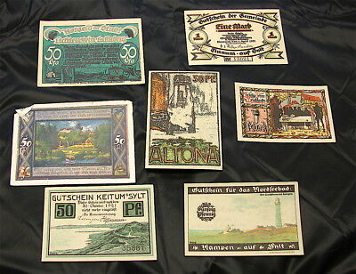 WWI German Emergency currency Notes----7 Notes-----Free Ship
