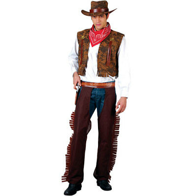 Adults Mens Western Cowboy Costume for Wild West Cowboy & Indian Fancy Dress