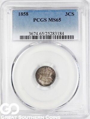 1858 PCGS Three Cent Silver Piece PCGS MS 65 ** Tough This Nice, Free Shipping