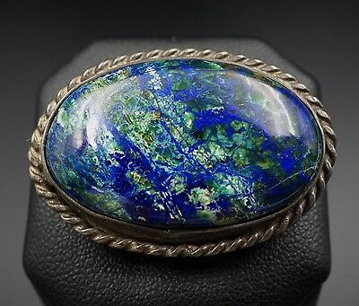 Vintage Solid Sterling Silver Natural Azurite Dome Pin Brooch OS352