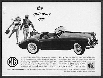 "1962 MG MGA 1600 Mk Convertible photo ""The Getaway Car"" vintage promo print ad"