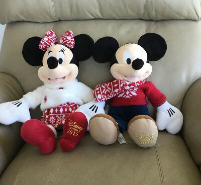 2017 christmas mickey and minnie mouse plush limited edition disney store new picclick - Disney store mickey mouse ...